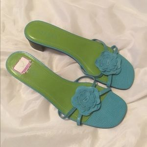 Ralph Lauren sandals- low heel, fun & sassy Sz 10